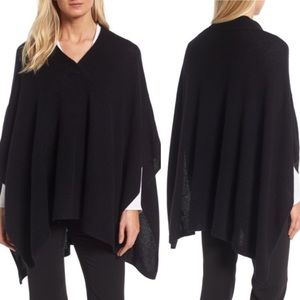 HALOGEN 100% Cashmere V-Neck Draped Sweater Poncho